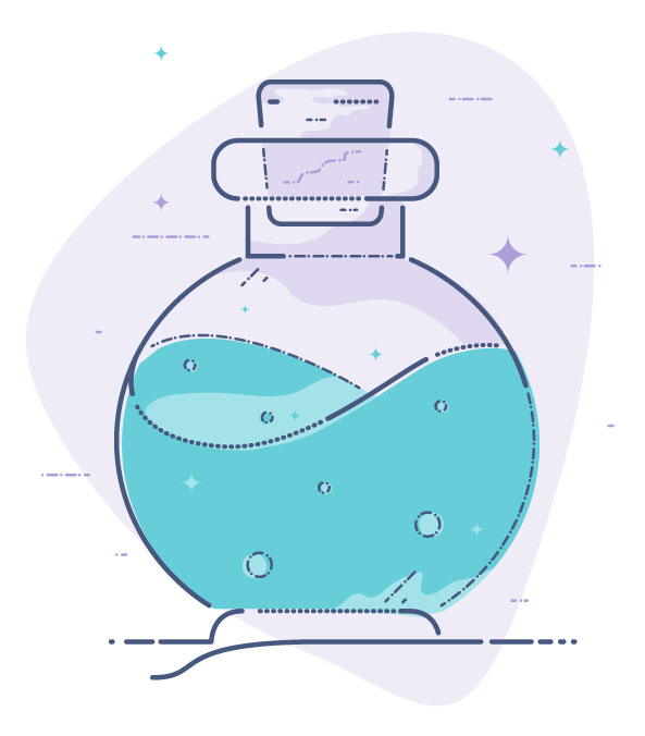 Email Campaigns: Magic Formula - Illustration of bottle with magic potion