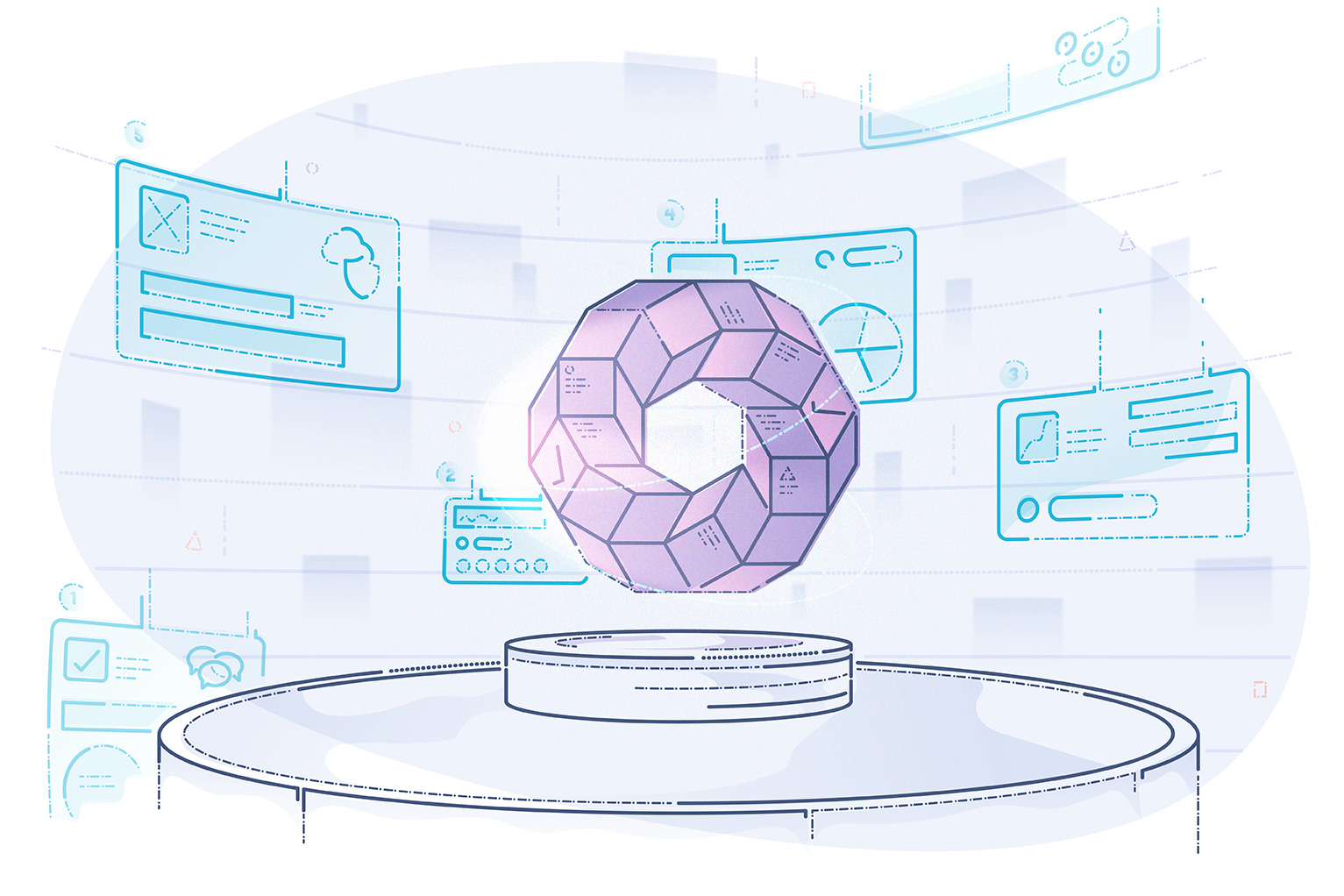 Saas Payment obstacles - abstract illustration of sphere with parts hovering in technology heavy environment
