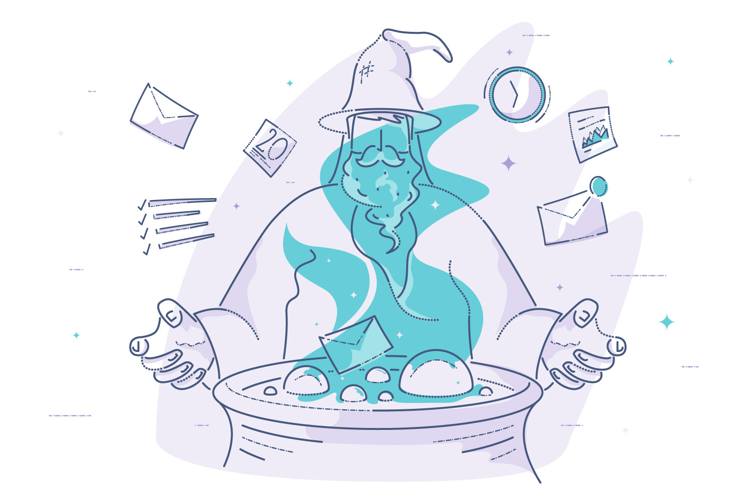Email Campaigns: Magic Formula - Illustration of wizard in front of cauldron creating magic email formula