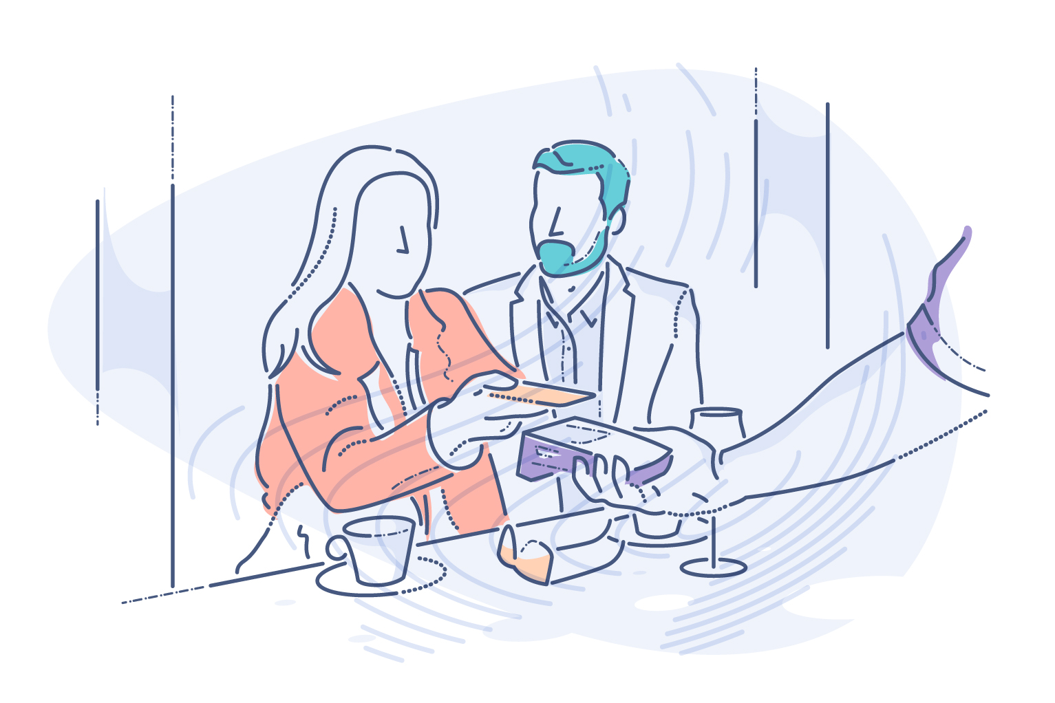 Finding the best terminal for accepting credit card payment - illustration showing consumer at restaurant handing credit card to vendor holding credit card processor.