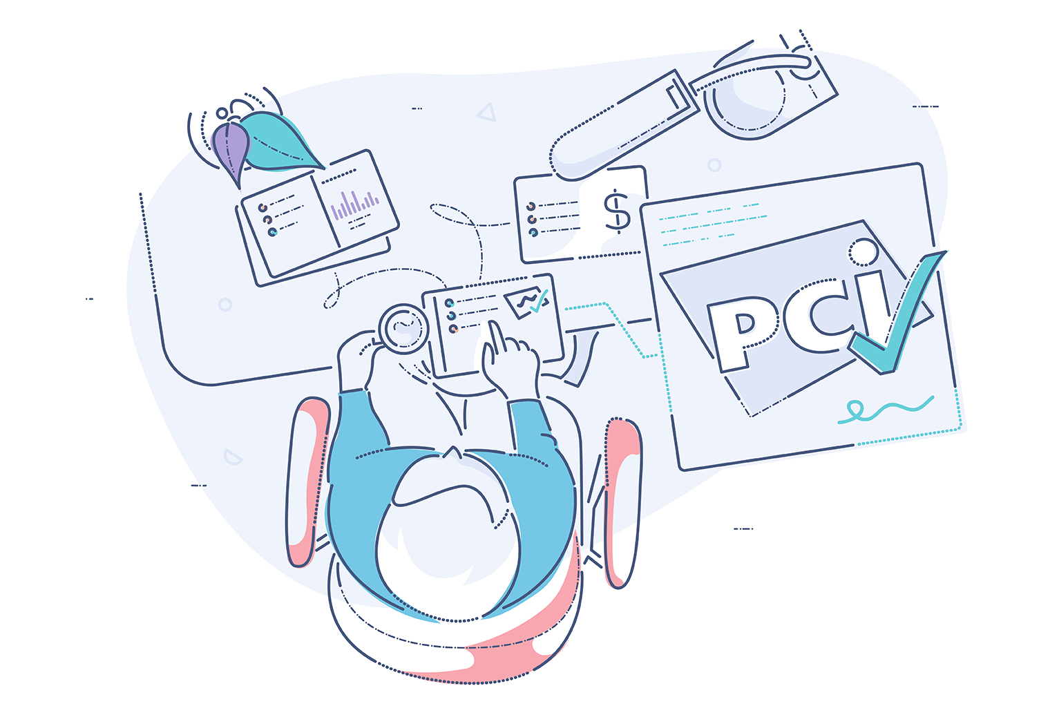 Data security essentials evaluation tool - illustration of merchant working on device to ensure PCI compliance