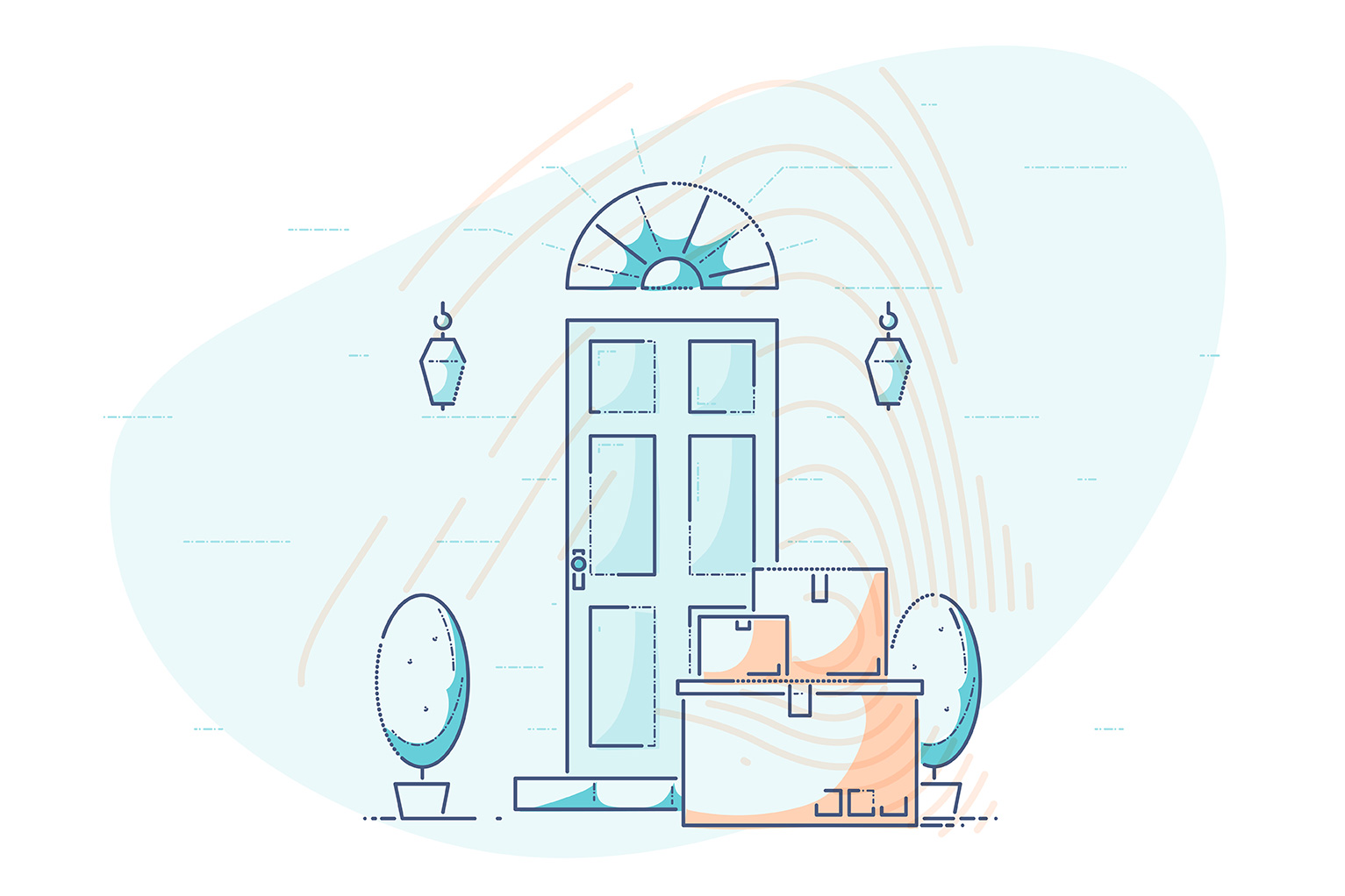 Online shopping and eCommerce Statistics 2018 - illustration of delivered goods in front of a homeowners door