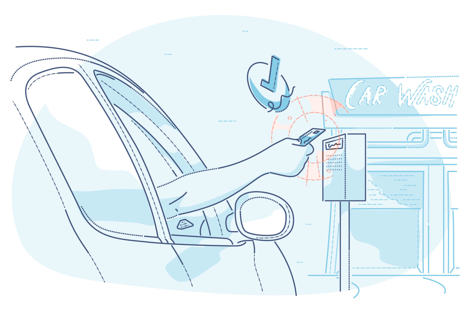 Payment systems for car wash businesses - hero body illustration of driver in vehicle at car wash, making payment at standalone card processor