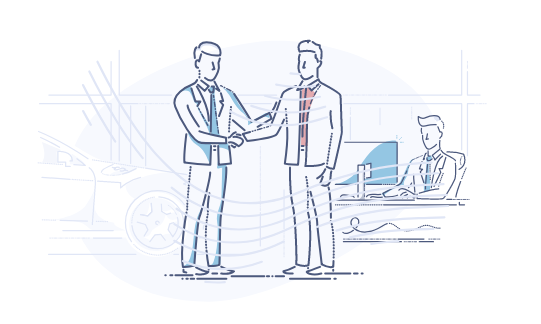 Business startup cost calculator - illustration of startup entrepreneur meeting with banker and shaking hands