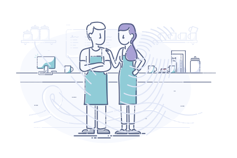 Business startup cost calculator - illustration of coffee shop business partners