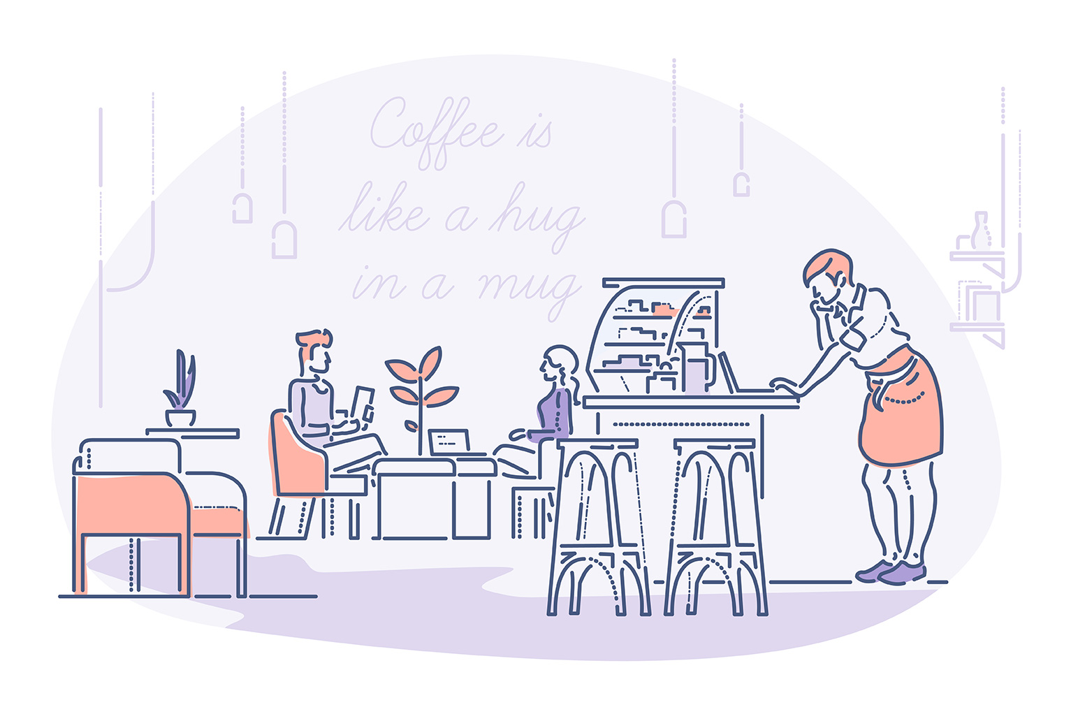 Coffee shop startup costs - hero illustration of coffee shop owner behind counter and two seated customers