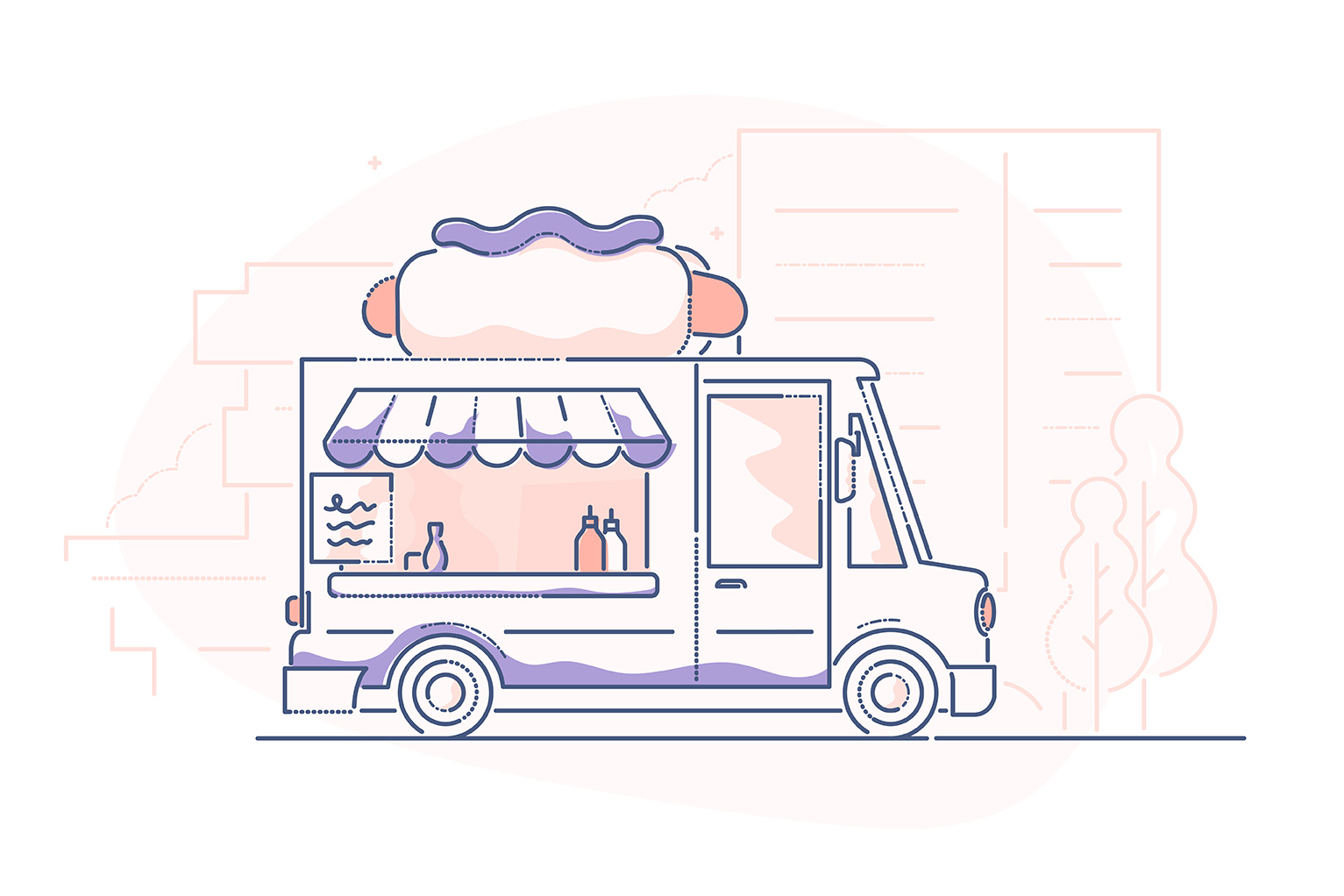 Food truck startup costs - illustration of hotdog food truck