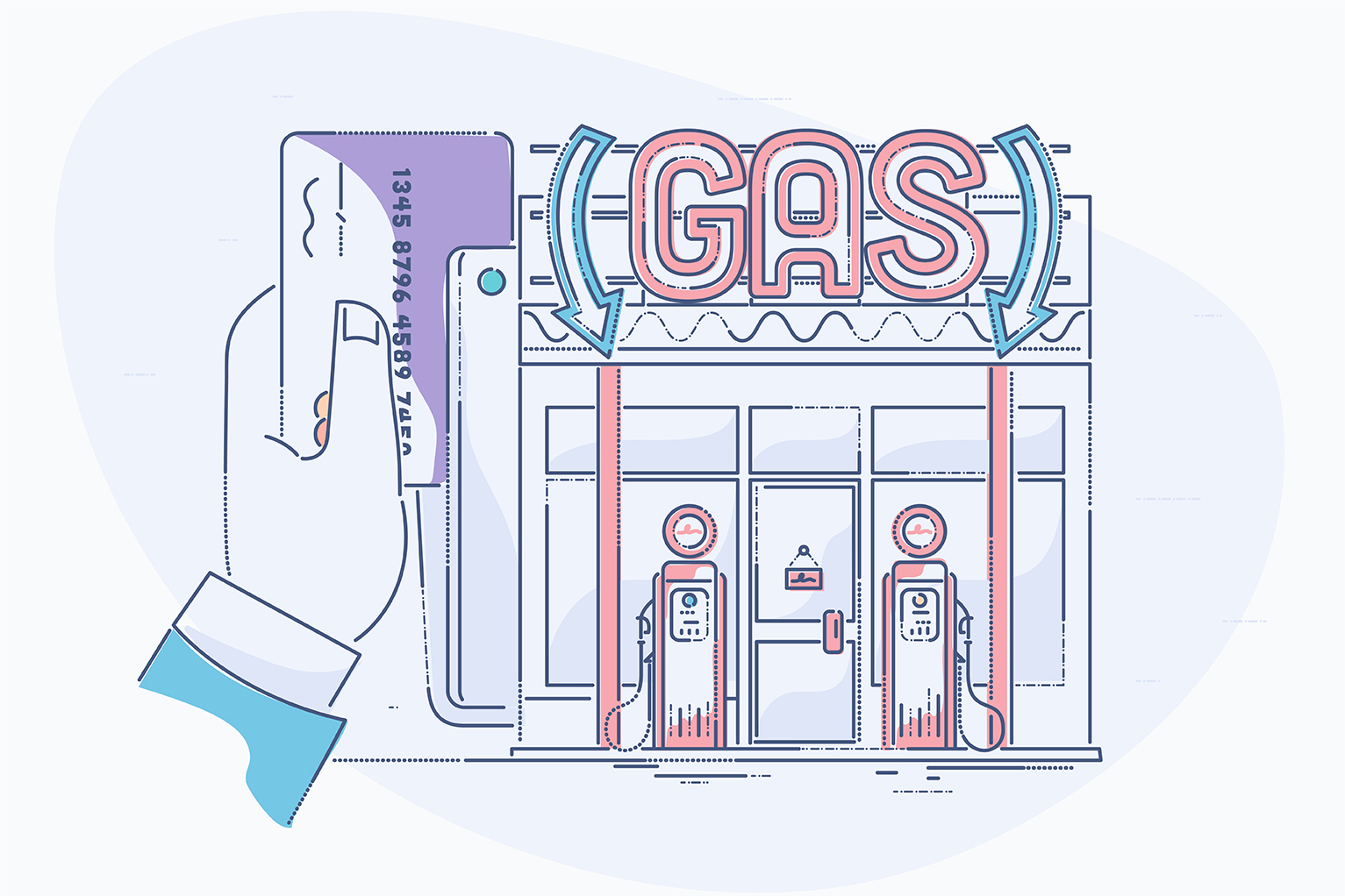 Gas Stations and why you don't often dip your credit card - illustration of Gas station and credit cared being swiped