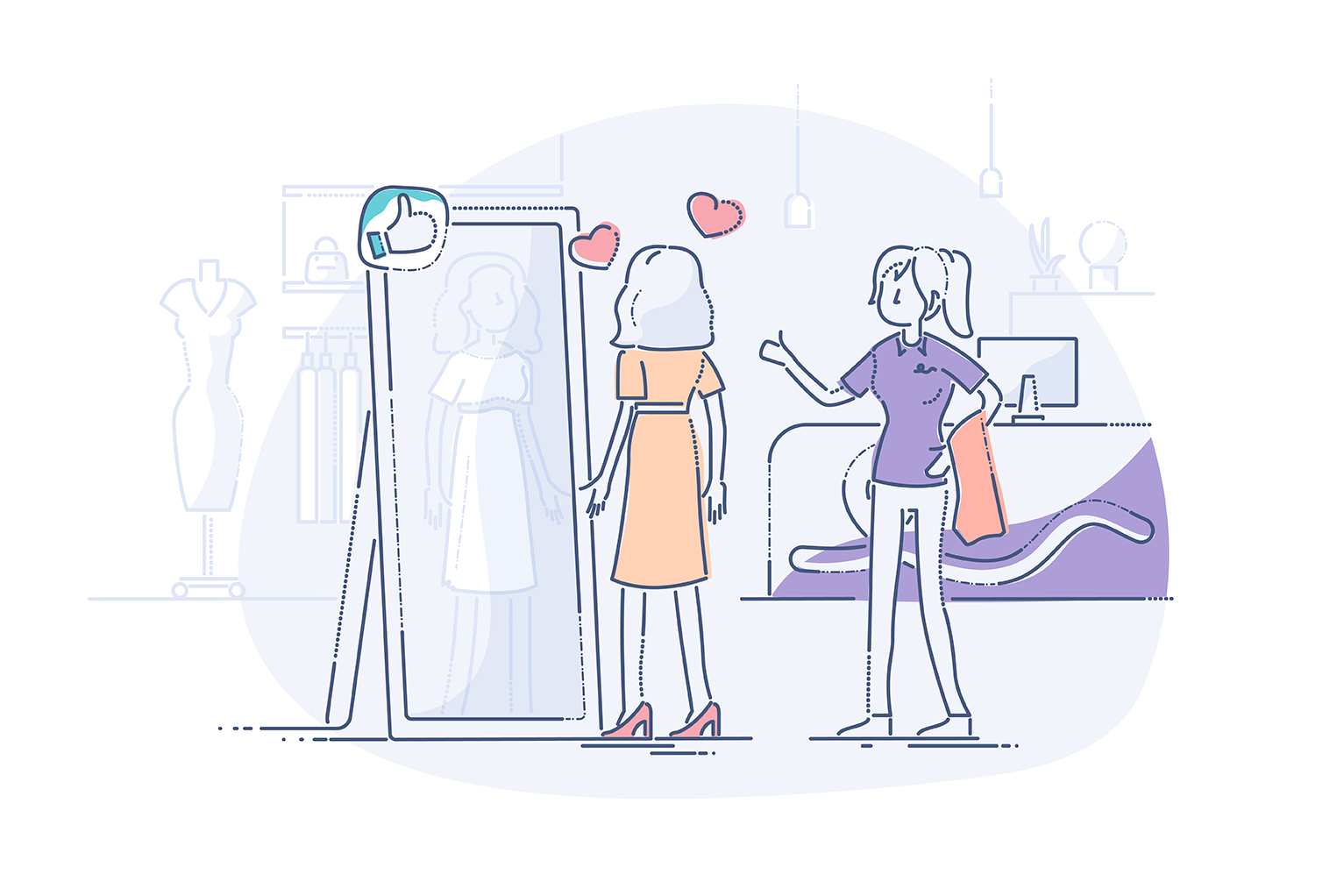 Hero illustration of customer looking at dress in mirror with merchant showing the thumbs up
