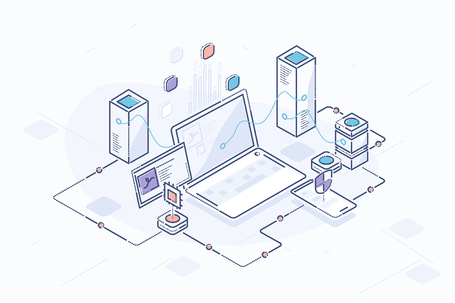 Payment API: A guide for Developers - illustration of laptop computer connected to servers and other technology