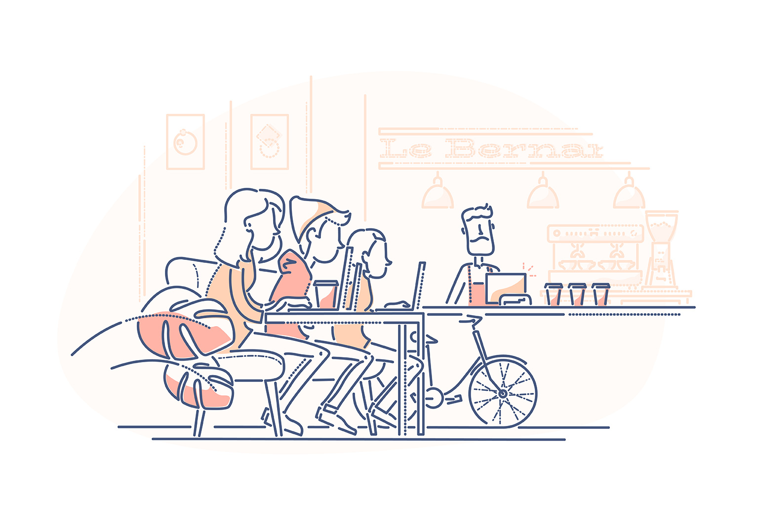 Restaurant startup costs - illustration of restaurant merchant behind counter with three customers sitting at tables working on laptops